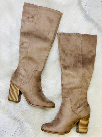 Make A Scene Boots: Taupe - ShopSpoiled