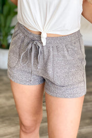Comfy Cutie Lounge Shorts: Grey - ShopSpoiled