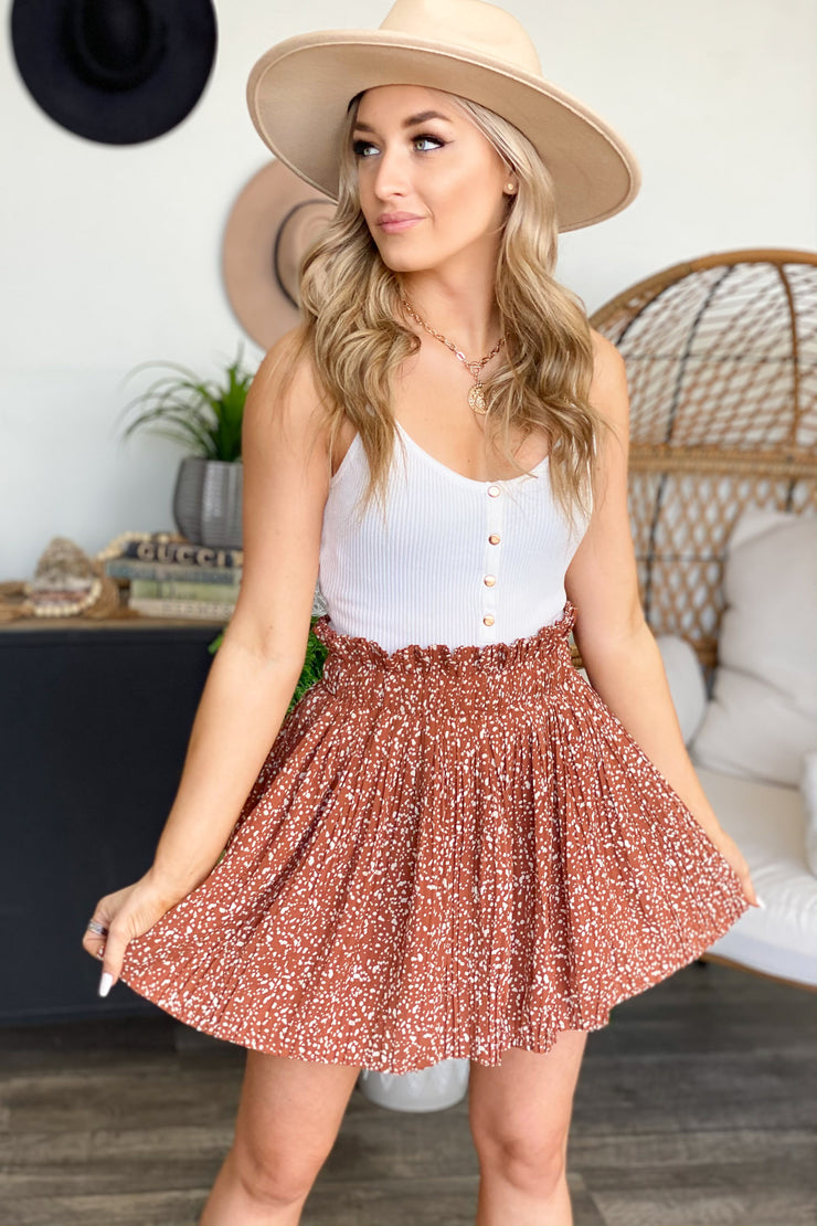 Ready To Go Skirt: Rust - ShopSpoiled