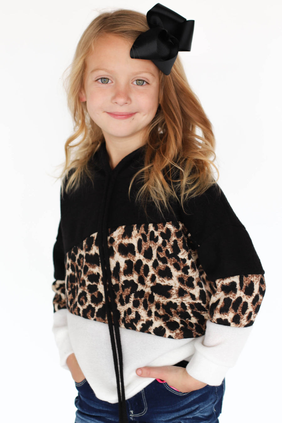 Kids Leopard Color Block Pullover - ShopSpoiled