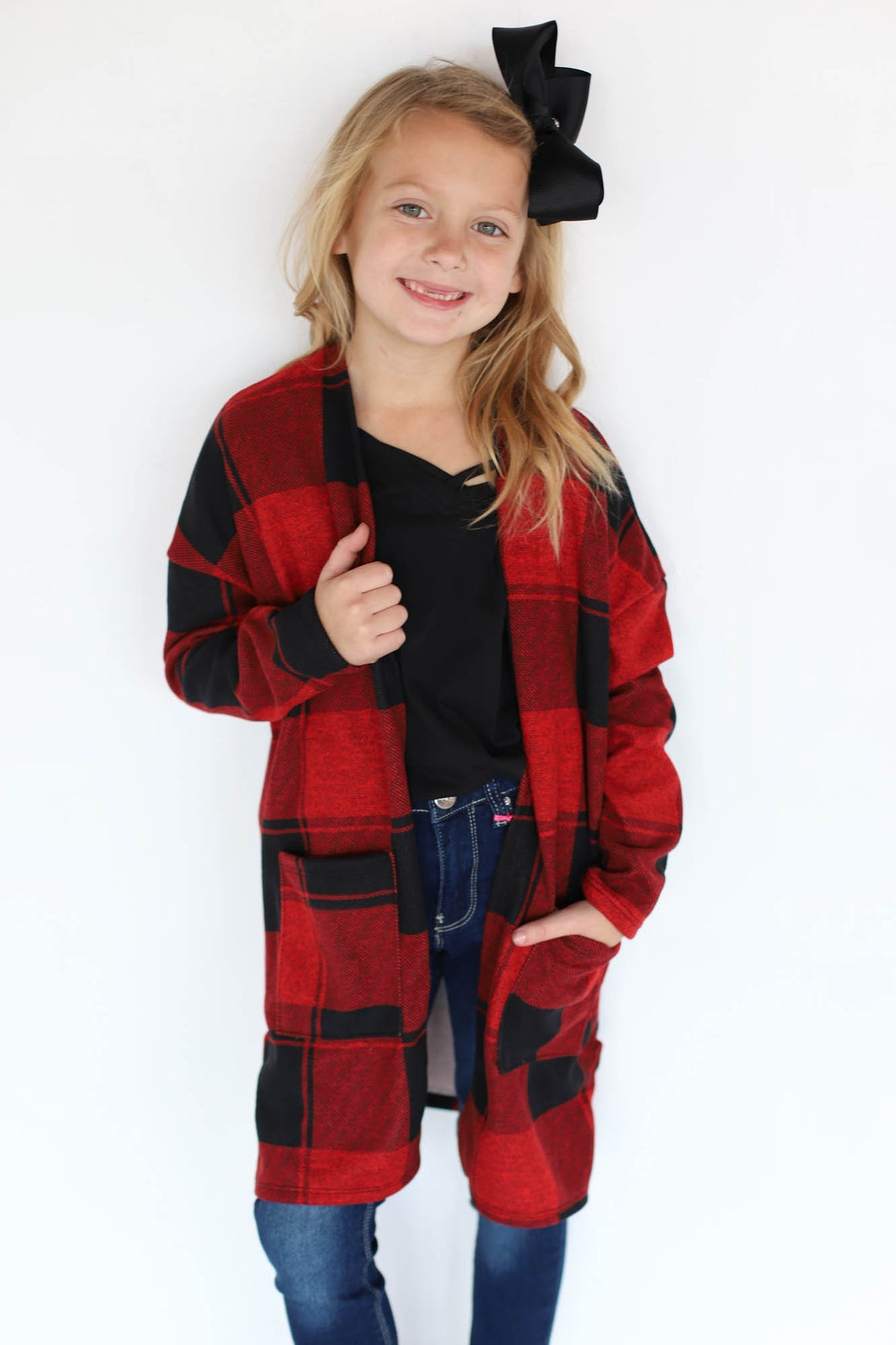 Kids Buffalo Check Cardigan - ShopSpoiled