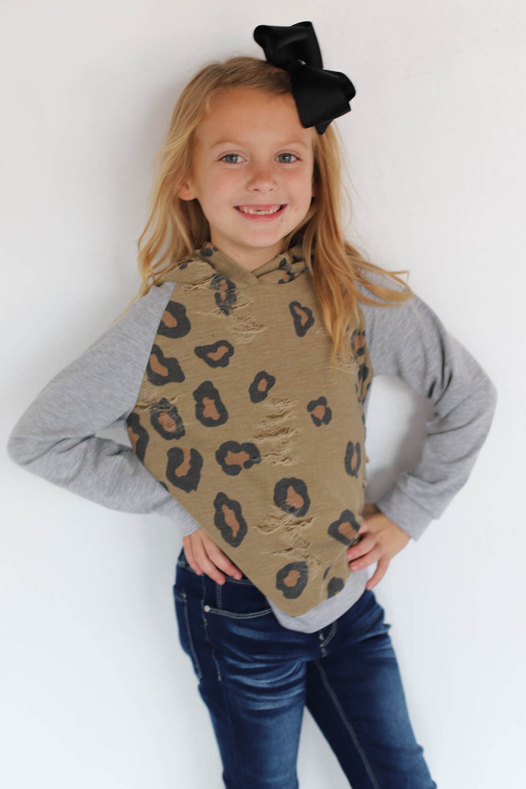 Kids Leopard Distressed Hoodie: Taupe - ShopSpoiled