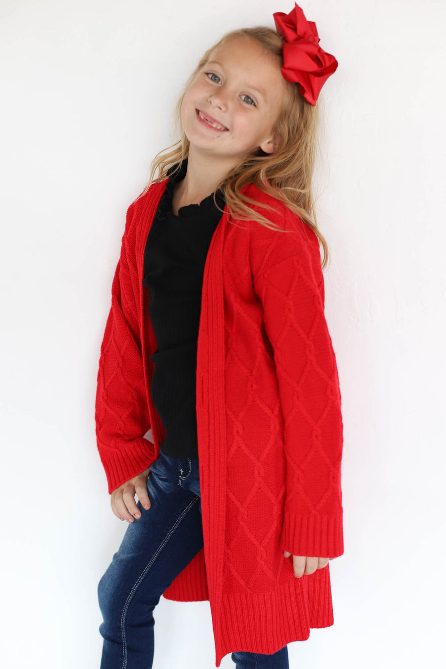 Kids chunky cable cardigan (red) - ShopSpoiled
