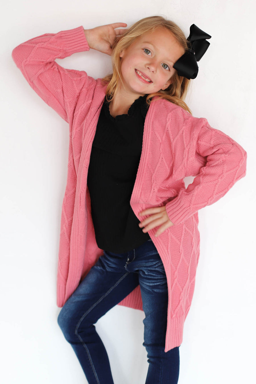 Kids chunky cable cardigan (pink) - ShopSpoiled