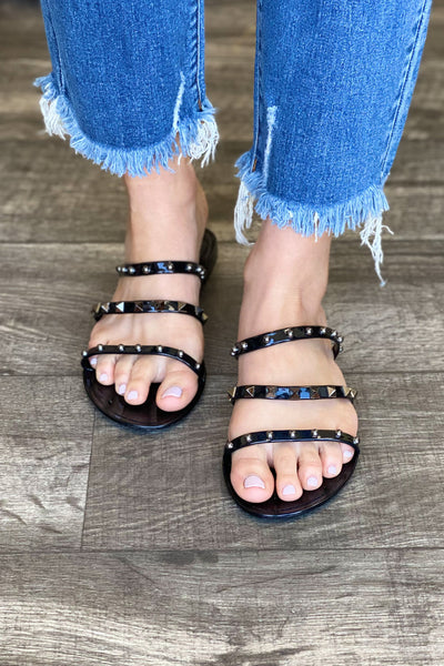 Joanie Studded Sandals: Black - ShopSpoiled