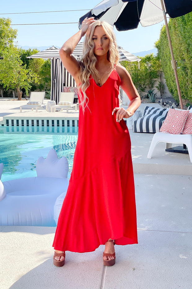 Resort Bound Maxi Dress: Red - ShopSpoiled
