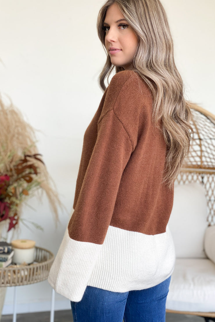 Shades Of Fall Sweater: Coffee - ShopSpoiled