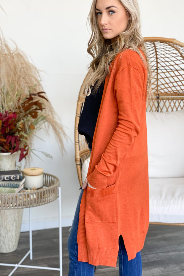 Through The Seasons Cardigan: Rust - ShopSpoiled