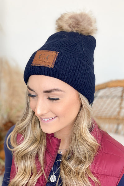 CC Fur Lined Pom Beanie: Navy - ShopSpoiled