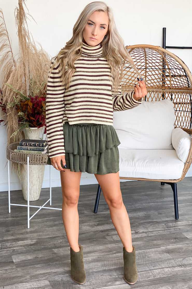 Lost In the Moment Skirt: Olive - ShopSpoiled