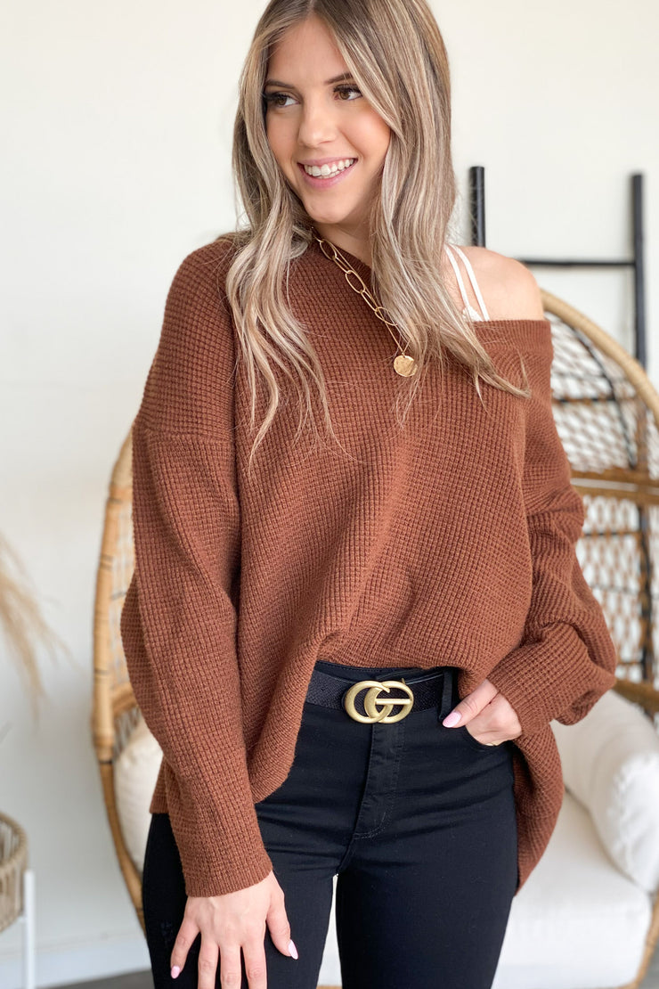Steal Your Time Sweater: Brown - ShopSpoiled