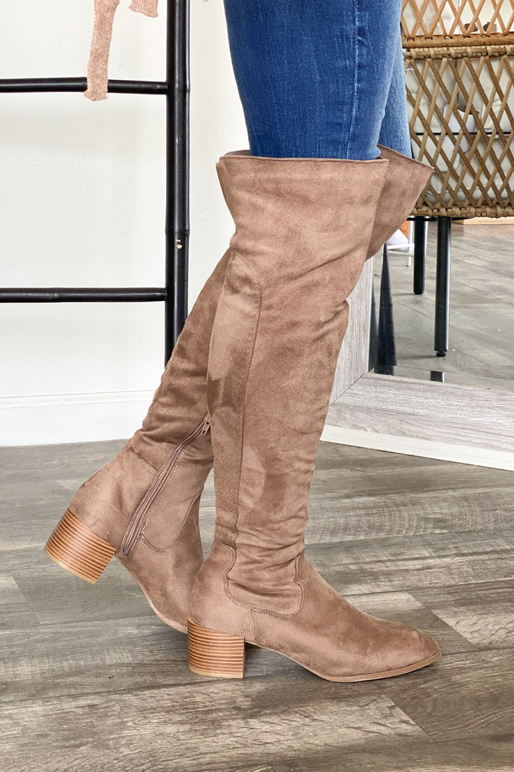 Catherine Boots: Taupe - ShopSpoiled