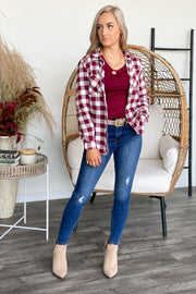 Too Cool For You Flannel Top: Burgundy/White - Shop Spoiled Boutique