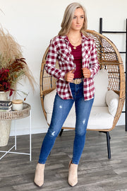 Too Cool For You Flannel Top: Burgundy/White - ShopSpoiled
