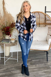 Too Cool For You Flannel Top: Black/White - Shop Spoiled Boutique