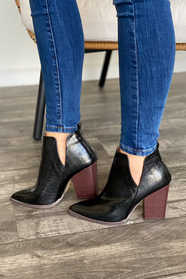 Celeste Booties: Black Croc - ShopSpoiled