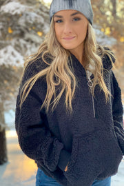 Winter Chill Sherpa Pullover: Black - ShopSpoiled