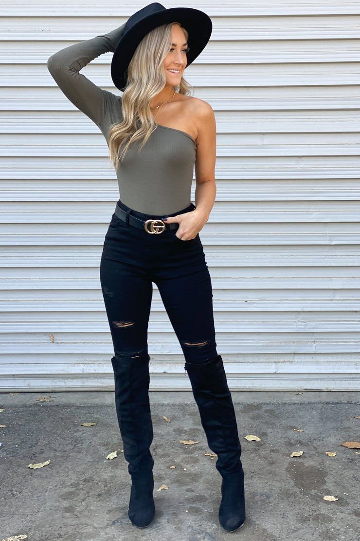 Cross My Heart Bodysuit: Olive - ShopSpoiled