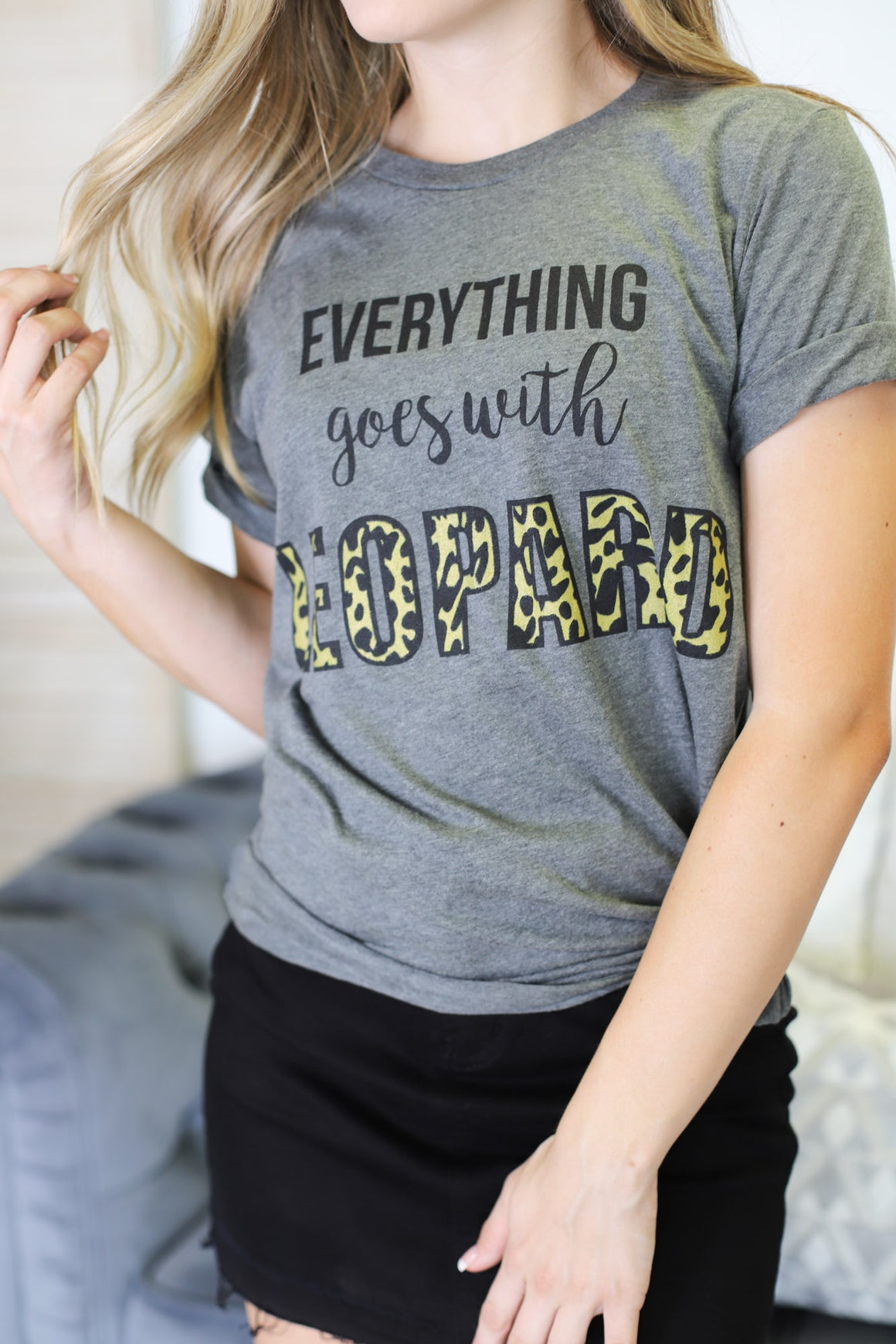 Leopard Everything Tee: Grey - ShopSpoiled