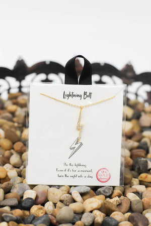 Bling Bolt Necklace: Gold - ShopSpoiled