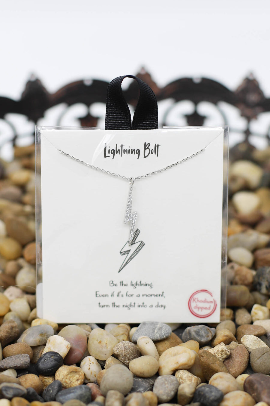 Bling Bolt Necklace: Silver - ShopSpoiled