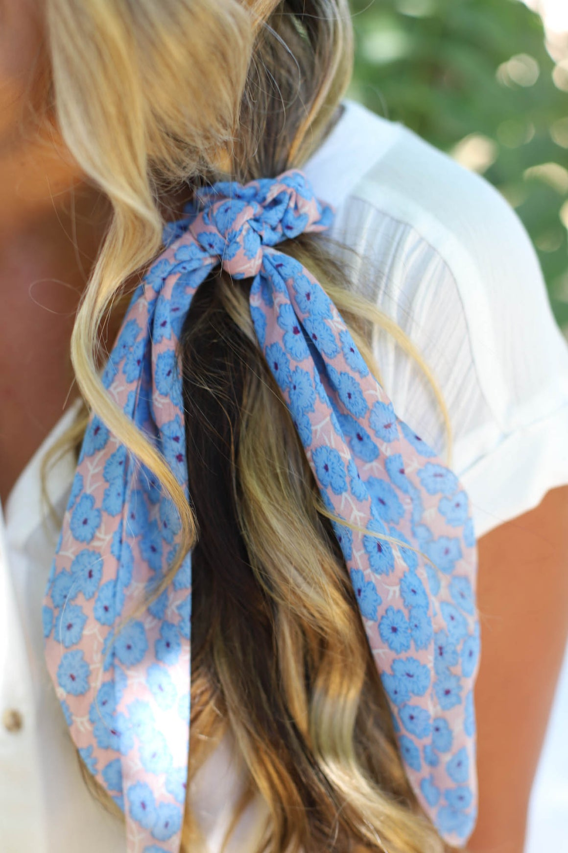 Daisy Hair Scarf: Blue Flower - ShopSpoiled