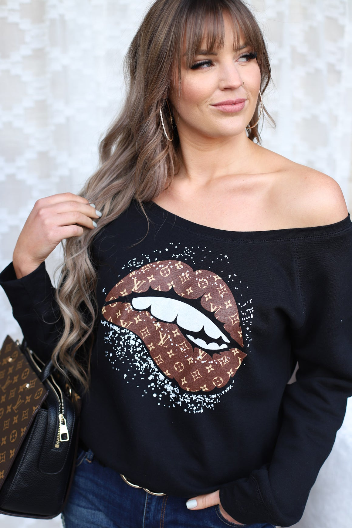 Louis and Lips Pullover: Black - ShopSpoiled