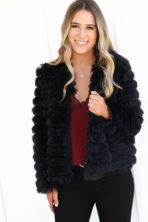 Totally Fur Real Jacket: Black - ShopSpoiled