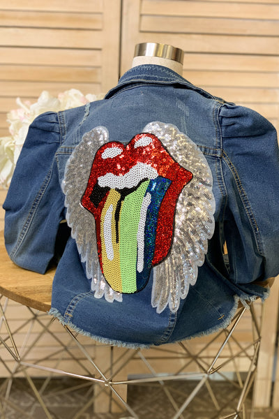 Kids Rolling Stones Denim Jacket - ShopSpoiled