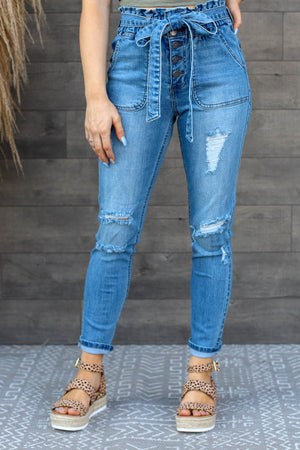 Daisy Paperbag Skinny Jeans: Light Wash - ShopSpoiled