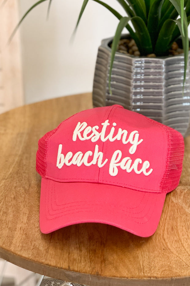 Resting beach face hat: pink - ShopSpoiled