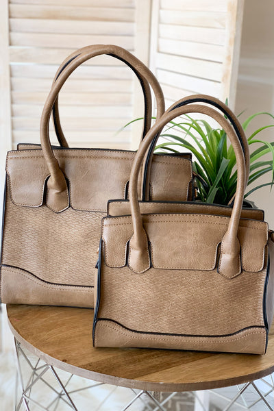 Elene Handbag: Taupe - ShopSpoiled