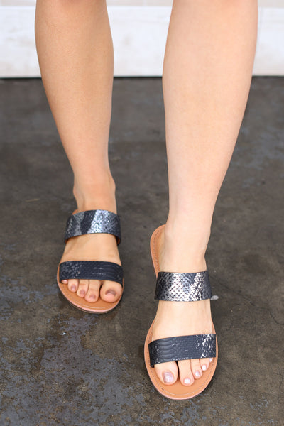 Hey Girl Hey Sandals: Black Snake - ShopSpoiled
