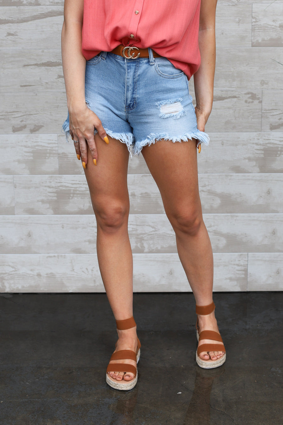 Tensley Shorts: Light Denim - ShopSpoiled