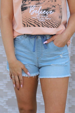 Stella Shorts: Light Denim - ShopSpoiled