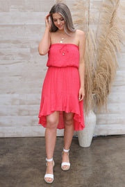 Moonstruck High-Low Dress: Coral - ShopSpoiled