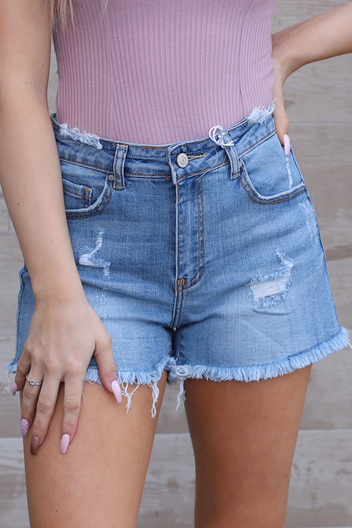 Johanna Shorts: Light Denim - ShopSpoiled