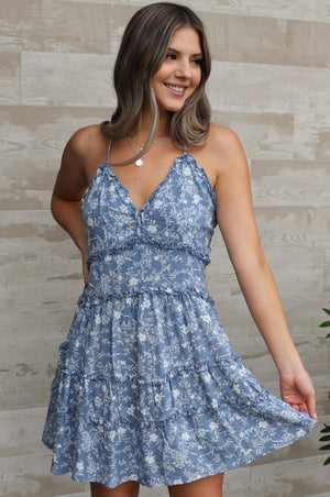 Fiji Floral Dress: Blue - ShopSpoiled