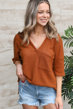 Meadow Top: Camel - ShopSpoiled