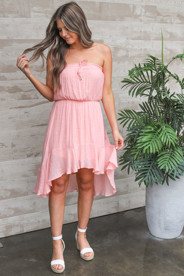 Moonstruck High-Low Dress: Pink - ShopSpoiled