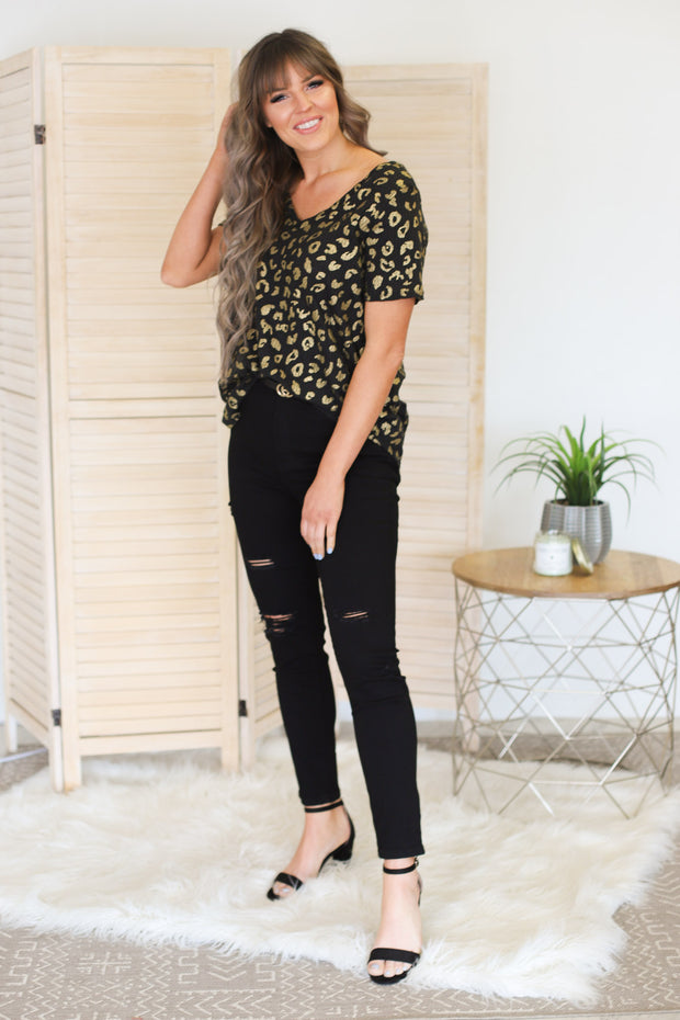 So Carefree Leopard Top: Black - ShopSpoiled