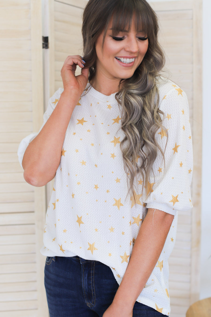 Seeing Stars Top: White/Gold