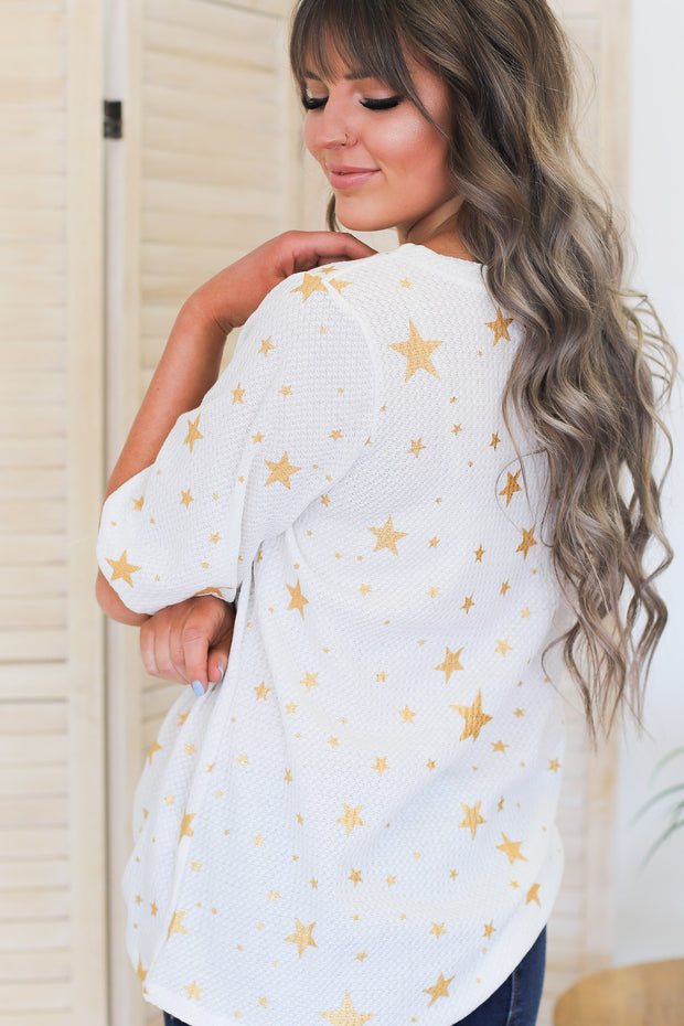 Seeing Stars Top: White/Gold - ShopSpoiled