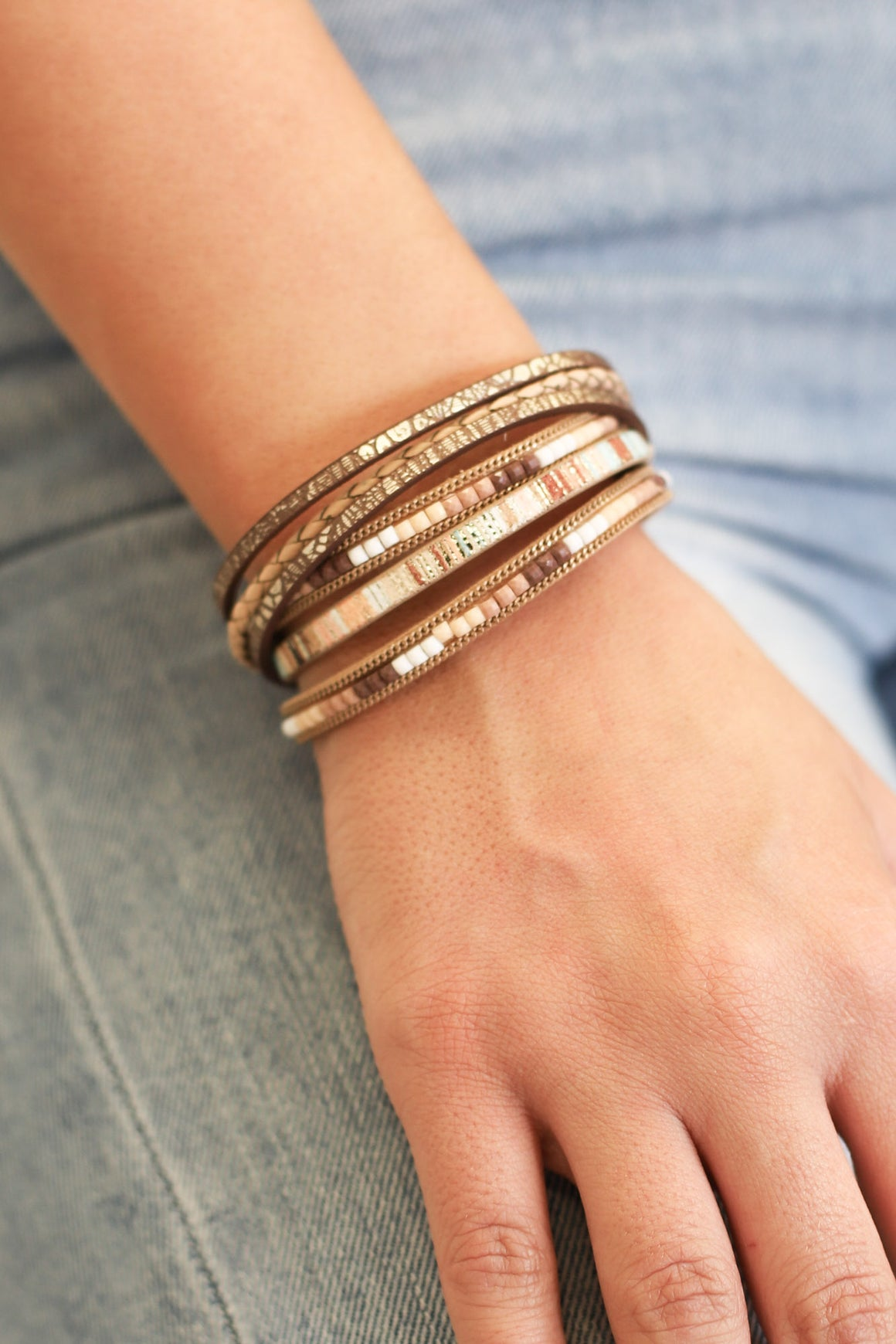 Samantha Multi Leather Magnetic Bracelet - ShopSpoiled