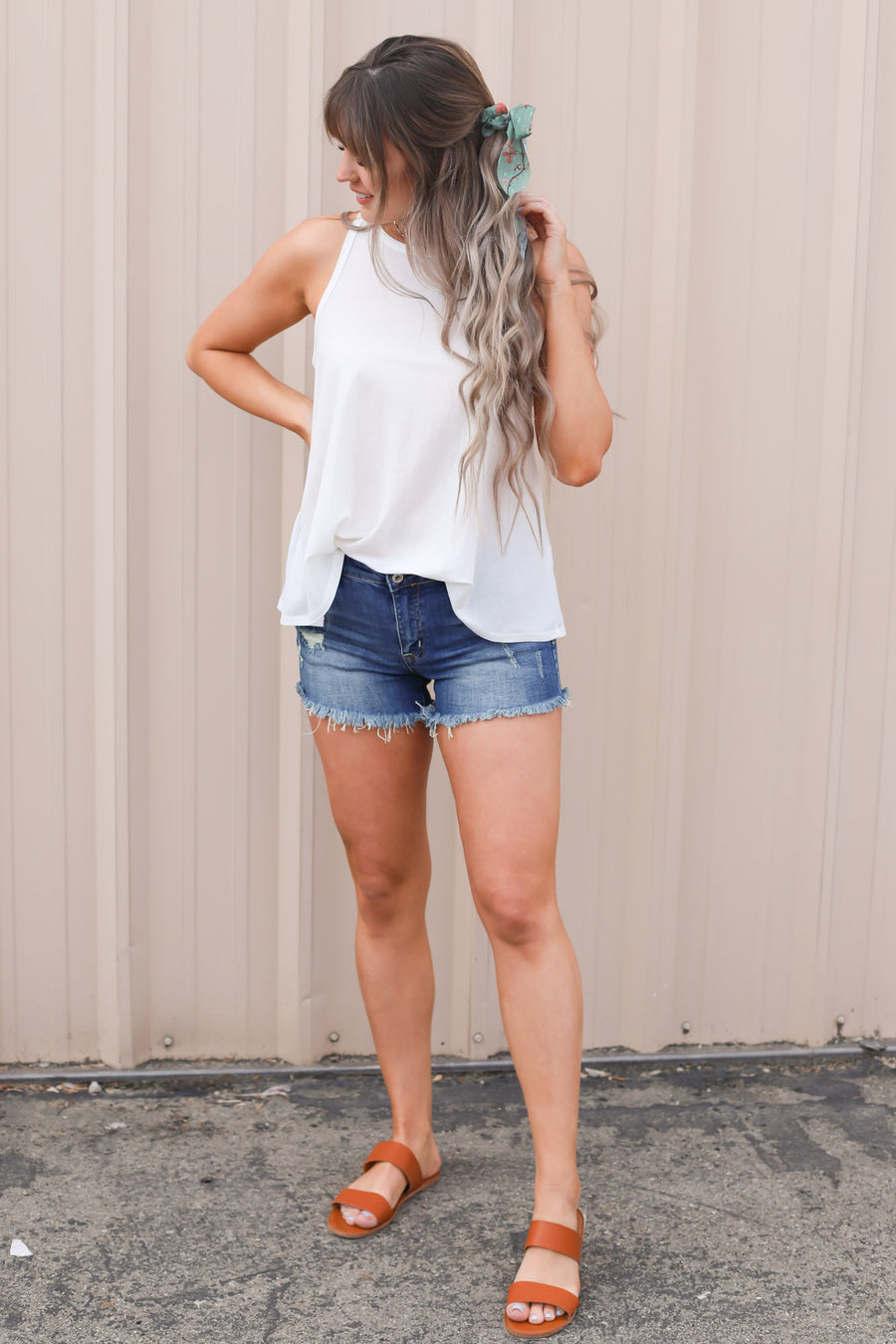Vice Racerback Tank: Ivory - ShopSpoiled
