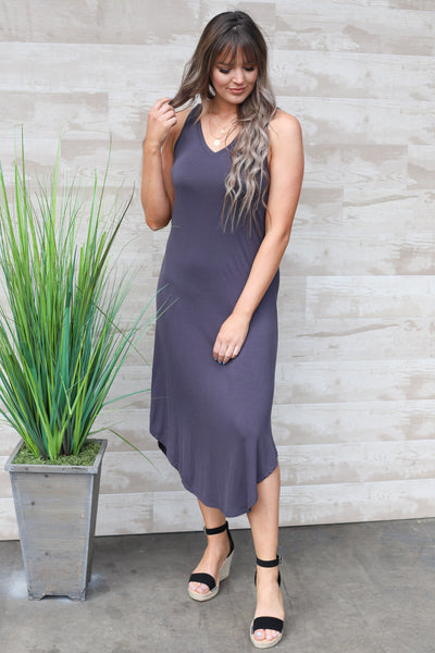 Weekend Bliss Maxi Dress: Charcoal - ShopSpoiled