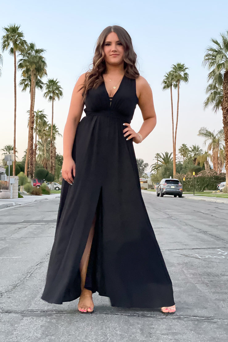 Tropical Destination Maxi Dress: Black - ShopSpoiled