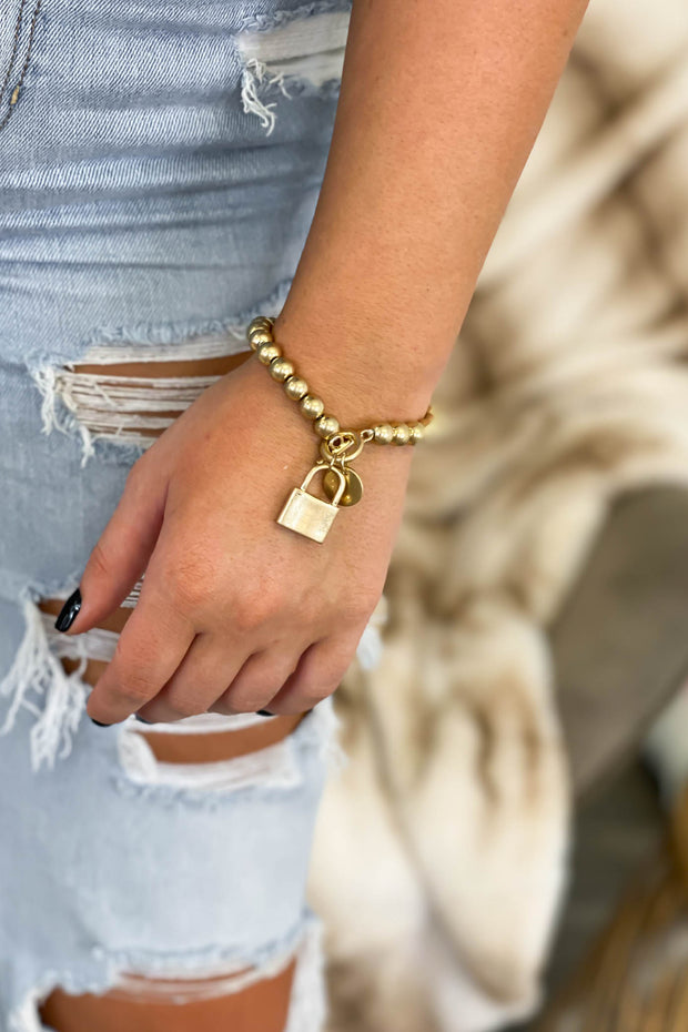 Becky Beaded Lock Bracelet: Gold - Shop Spoiled Boutique