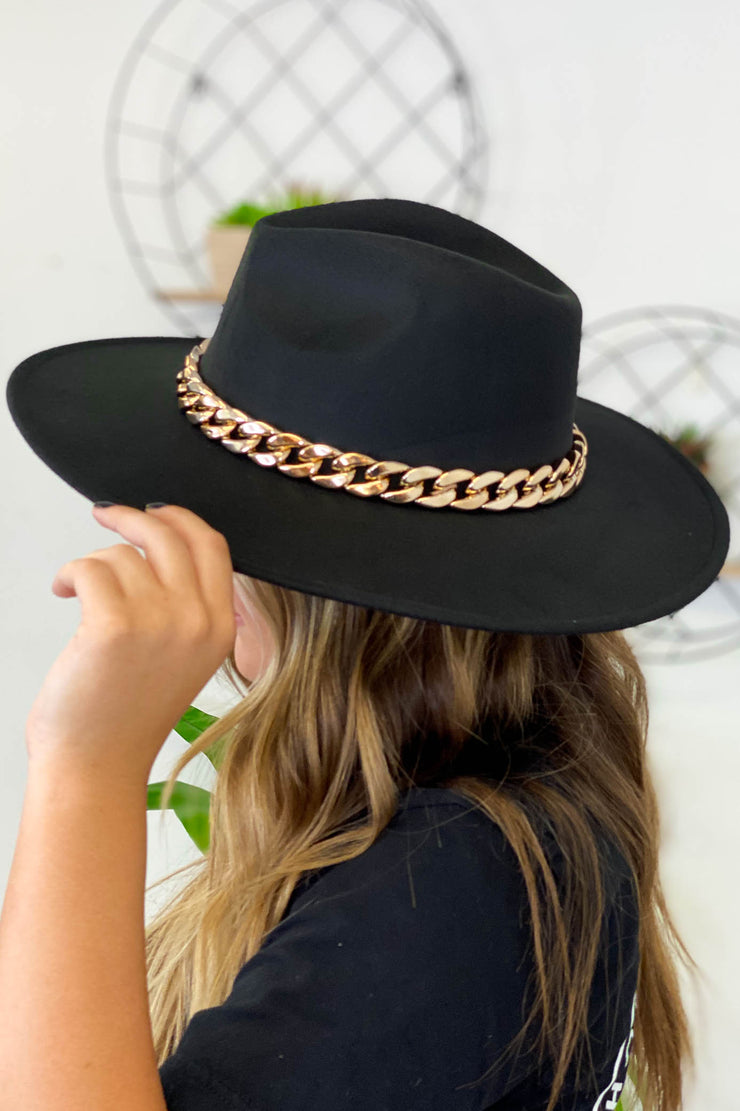 Got A Feeling Flat Brim Hat: Black - ShopSpoiled