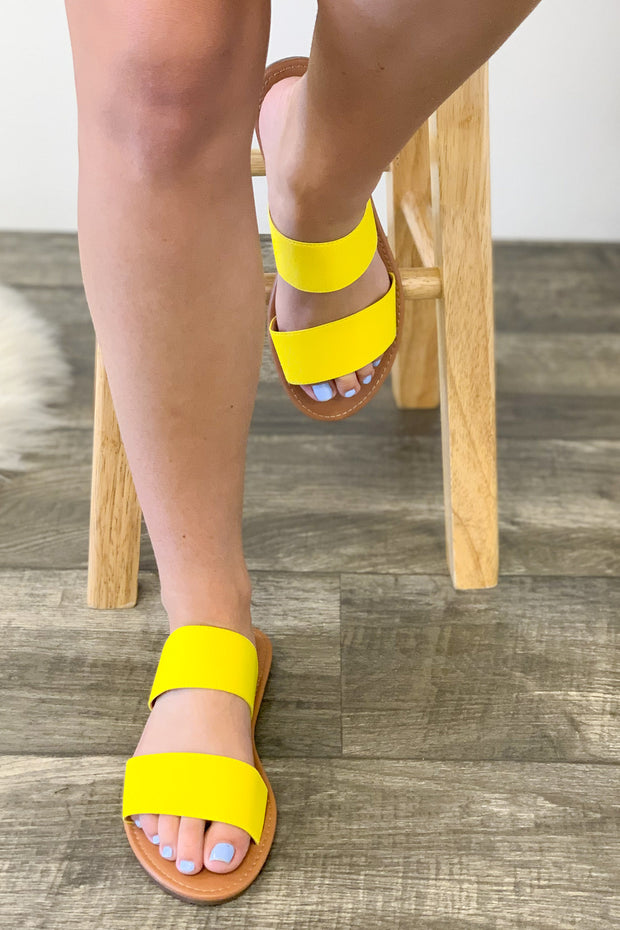 Miley Sandals: Neon Yellow - ShopSpoiled